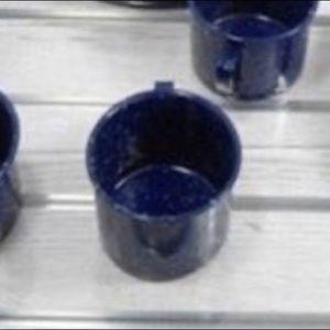 4 Speckled Blue Enamelware Graniteware Camp Mugs